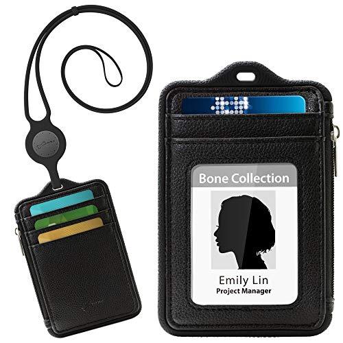 Bone Collection Ausweistasche mit Lanyard Geldbörse, Doppelseitige Kartenfächer, Vertikale Ausweishülle mit Geldfach, ID Kartenhalter mit Reißverschluss, Abnehmbar Lanyard Ausweishalter - Schwarz