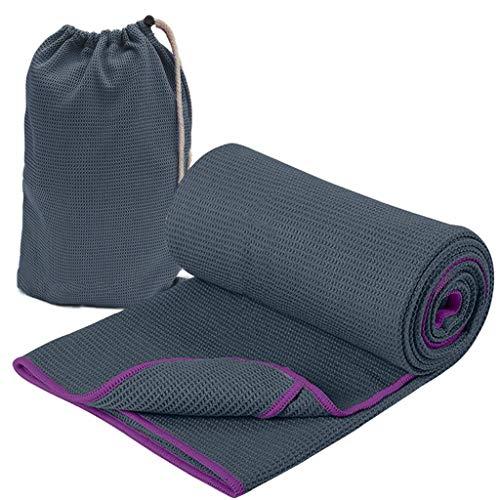 A&DW Toalla de Yoga con Bolsillos Laterales, Absorbente de Sudor de Microfibra y Manta de Secado rápido Pila de Esterilla para Yoga Caliente, Pilates y Entrenamiento,Black,183cmx78cm