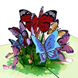 Paper Love Butterflies Pop Up Card, 3D Popup Greeting Cards, for Mothers Day, Spring, Fathers Day, Graduation, Birthday, Wedding, Anniversary, Thank You, Get Well, All Occasion | 5' x 7'