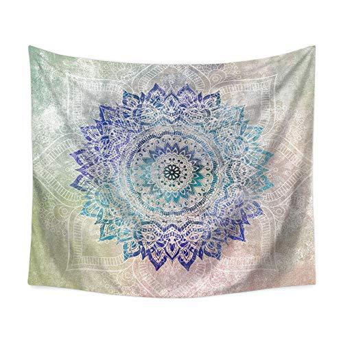 hdbklhjxk Tapiz de Mandala Negro Tapiz de Mandala Bohemio Mármol Gris Oro Azul Colgante de Pared Indio 150X130CM