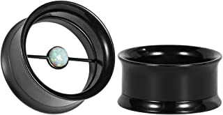 TBOSEN Black Steel Ear Flesh Tunnels Artificial Pearl Plugs Gauges For Ears 2 pcs