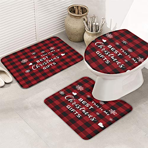 Christmas 3 Piece Set Bathroom Rugs Skidproof Bath Rug, Super Absorbent Bath Mats Set, Perfect Carpet for Tub, Bath Room Toilet Seat Best Gift Snowflake Red and Black Grid