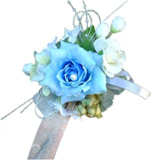 Arlai Bridal Wrist Corsage Wedding Party Artificial Flower Bridesmaid Brooch Wedding Bouquet Decoration Pack of 1 Light Blue