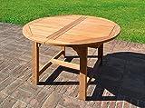 Tavolo da giardino rotondo allungabile in Teak Capraia Misure L 120/170 cm - A 75 cm - P 120 cm