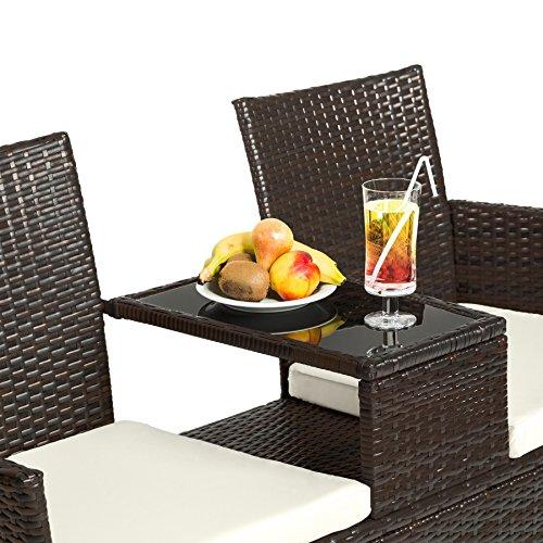 TecTake Sitzbank mit Tisch Poly Rattan Gartenbank Gartensofa inkl. Sitzkissen – diverse Farben – (Schwarz-Braun | Nr. 401548) - 4