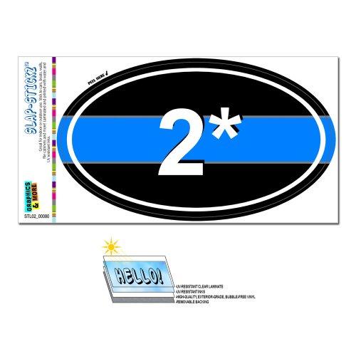 Graphics and More Thin Blue Line 2 Two Asterisk K-9 Unit - Police Euro Oval Slap-STICKZ(TM) Automotive Car Window Locker Bumper Sticker
