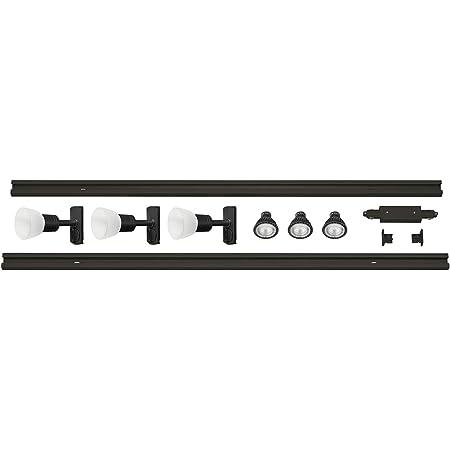 SLV 1001782 Kit 1 Phase Haute Tension Puria Tout Compris, Aluminium et Verre, GU10, 12.9 W, Noir, 213 x 3,5 x 15 cm