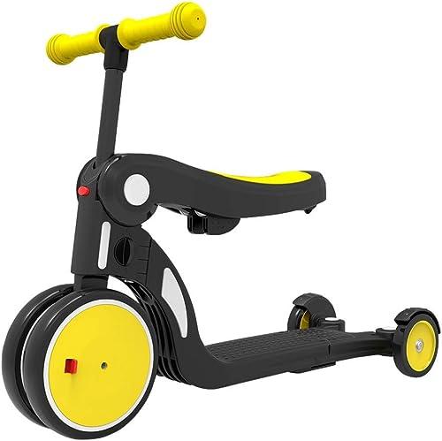 XIAOYAN Tricycle Trike Cinq-en-Un Tricycles pour Enfants Vélos Légers 1-5 Ans Scooters pour Enfants   Scooters Réglages Variés Jouets pour Enfants Garçons Et Filles Jaune Bleu ( Couleur   jaune )