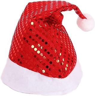 BMBN Kersthoed, kerstmuts met pailletten met pluche bal kerstman pet voor volwassenen kinderen vakantie rekwisieten Kerstm...