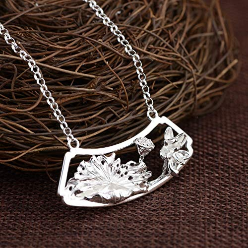 JNFGH Handmade Pendant Necklaces For Women,European Elegant Lotus Flower Leaf Pendant 925 Sterling Silver Jewelry For Ladies Girls Weddings Proms Birthday Party Other Special Occasions Gifts