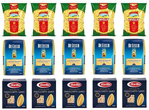 Testpaket Gnocchetti Sardi Barilla Divella De Cecco Italienische Kurze Pasta ( 15 x 500g ) Nudeln