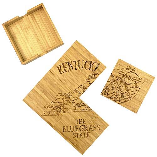 Totally Bamboo State Puzzle Juego de 4 posavasos de bambú con funda