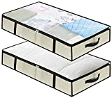 Under Bed Storage Bag Organizer 2 Pack,Large Linen Durable Bottom Cardboard Underbed Bins Boxes Organizer with Reinforced Handles and Zippers for Clothing,Shoes,Blankets,Comforters,Toys(Beige)