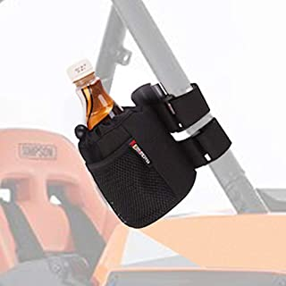 UTV Roll Bar Drink Cup Holder with Mesh Pocket- Collapsible/Adjustable Water Bottle Holder Universal fits 1.7