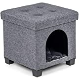 Pawristocrat Unique Multifunctional Pet House Ottoman with Tray Table - Folding Footrest Seat - Large Cat Cube Condo Houses for Cats and Small Dogs with Fully Washable Mat - Charcoal Cube 15.75x15.75