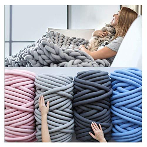 SBWW Manta tejida manual de 15 m de hilo grueso de lana para tejer, lana gruesa, súper suave, para hacer ganchillo, DIY 2020, apto para mantas, perreras, cojines, alfombras y almohadas Gris oscuro.
