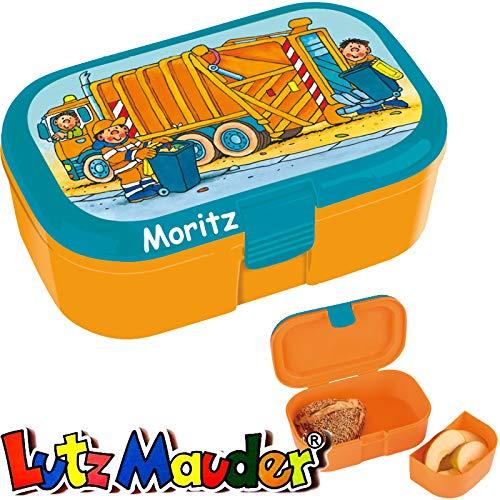 Lunchbox * MÜLLWAGEN Plus Wunschname * für Kinder von Lutz Mauder | Brotdose mit Namensdruck | Perfekt für Jungen | Vesperdose Brotzeitbox Brotzeit Schule Kindergarten Müllauto (mit Namen)