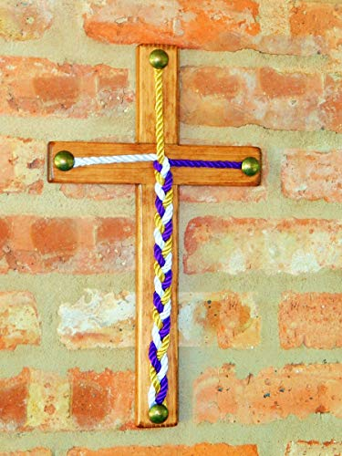 "Wood Cross, Cord of Three Strands, Knot Ceremony, Rope Wedding, 20 Colors to choose from 14""X8"""
