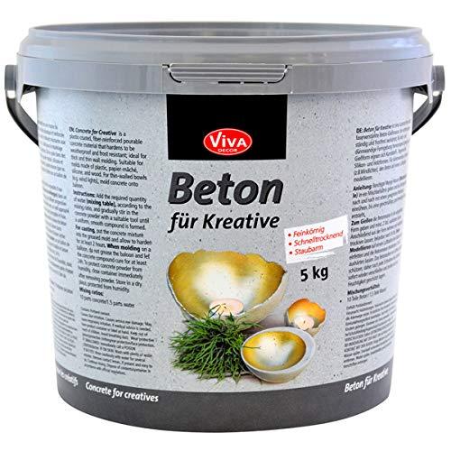 Viva Decor®️ Gieß-Beton für Kreative (5kg) Beton Deko - kreativ Basteln mit dem Bastelbeton zum Gießen - oder als Abformmasse für Deko - Made in Germany