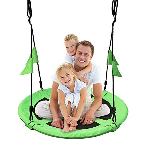 40 Inch Flying Saucer Tree Swing with Straps Flags for Kids, Outdoor Round Swing seat 2 Added Hanging Straps Adjustable Multi-Strand Ropes