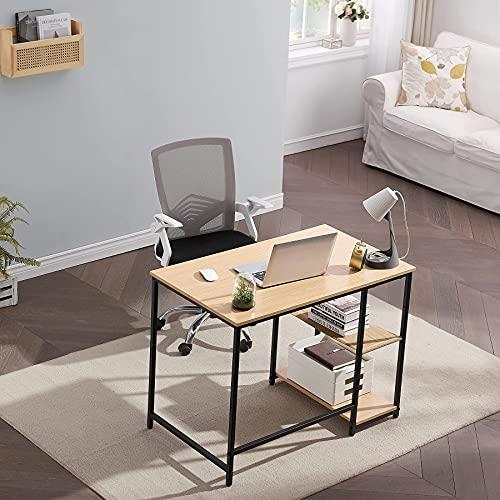 Symylife - Escritorio para ordenador portátil, diseño sencillo y gratuito, marco de metal con paredes de dos capas, apto para la oficina en casa, sala de estudio, 100 x 60 x 75 cm, color caqui