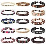 YADOCA 15 Stück Leder Chakra Bead Tribal Armband (Unisex) National Charme Handgestrickt Boho Hanf Holz Perlen String Armbänder für Männer Frauen Mädchen Armbänder