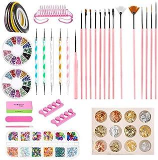 Kit de Accesorios Decoración Uñas Nail Art GuKKK 51 Pcs Suministros de Uñas con Juego 15 Pinceles para Uñas Lápiz de Pu...