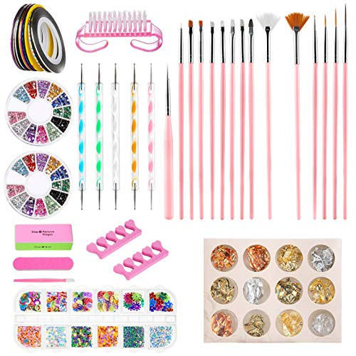 Kit de Accesorios Decoración Uñas Nail Art, GuKKK 51 Pcs
