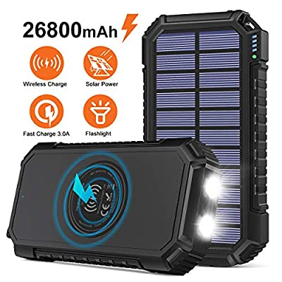 Solar Power Bank 26800mAh, Riapow Wireless Portable Charger Fast Charge 3.0A Solar Charger External Battery with 4 Outputs & LED Flashlight Phone Chargers for Phone, Tablet and Camping Outdoors