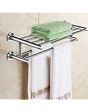 Alfaview 24 inch Handdoekenrek, Roestvrij Staal Metalen Handdoekhouder, Wandgemonteerde Handdoekhouder Organizer Handdoekplank Opbergrail voor Badkamer Keuken (Zilver)