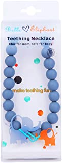 Belle Éléphant Silicone Stormy Grey Round Beaded Teething Necklace 30 Inch