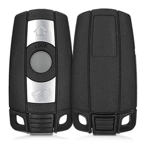 kwmobile Autoschlüssel Gehäuse kompatibel mit BMW 3-Tasten Autoschlüssel (nur Keyless Go) - ohne Transponder Batterien Elektronik - Auto Schlüsselgehäuse - Schwarz