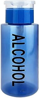 PANA 7 Oz Alcohol Labeled BLUE Liquid Push Down Pump Dispenser Bottle with Flip Top Cap
