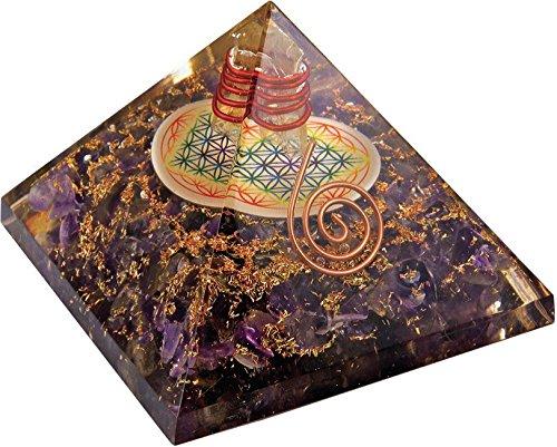 Orgonit Pyramide Blume des Lebens Amethyst (bekämpft negative Gedanken, beseitigt Stress).
