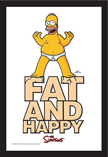 Homer Simpson Spiegel–Fat & Happy–Die Simpsons–30cm x 20cm