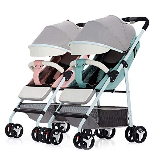 Best Buy! ZDMSEJ Curve Tandem Double Stroller for Infants, Toddlers or Twins - 360° Turning, Multip...