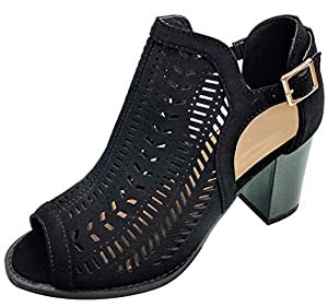 Top Small Foot Dressy Caged Booties Chunky Midi Block 3 in Heels Party Dress Shoes Peep Toe Sandals for Women Teen Girls (Black Size 7) from