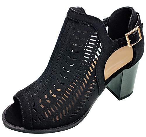 TravelNut Summer Special Suzy Dressy Caged Block Heel Peep Toe Sandale für Frauen, Schwarz (Patterned Black), 36 EU