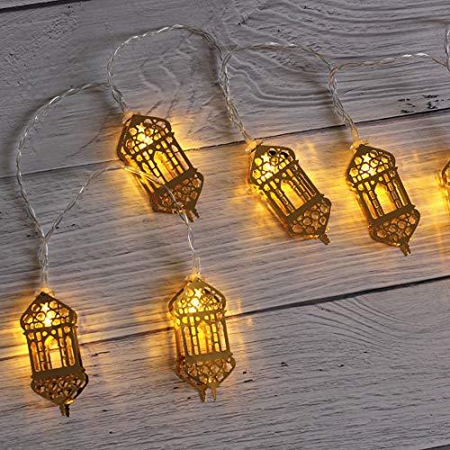 Guirnalda de luces musulmanas de Ramadán, decoración musulmana Eid Mubarak decoración de hadas, lámpara de Ramadán LED funciona con pilas para festivales (3 m 20 LEDs) (A)