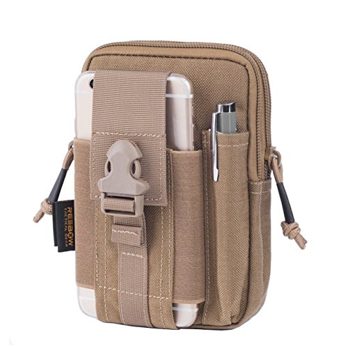 REEBOW GEAR Tactical Molle EDC Utility Pouch Gadget Belt Waist Bag with Cell Phone Holster Holder Tan