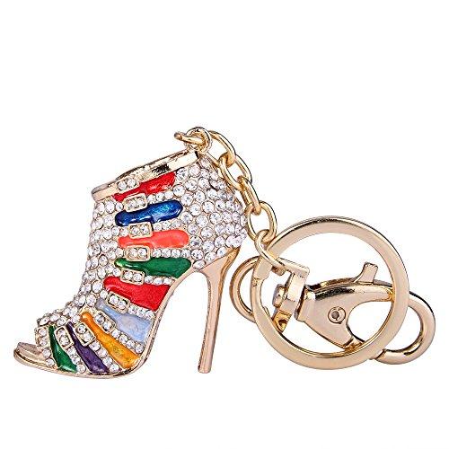 EVER FAITH Femme Cristal Autrichien Multicolore Émail Chaussures à Talons Hauts Porte-Clés Clair Ton d'or