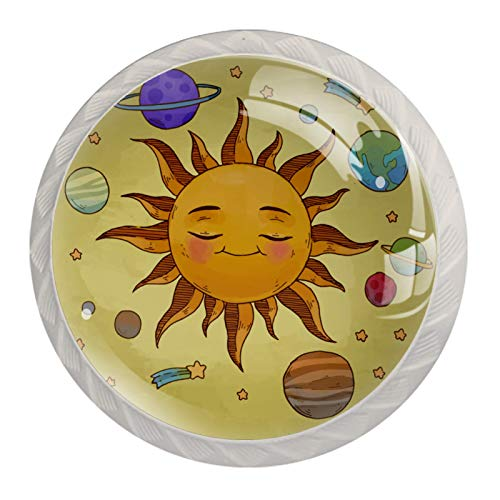 Perillas redondas para aparador (4 piezas) – Colorido decorativo floral cajón manija de decoración del hogar perillas de hardware de tirones, planetas del espacio exterior con estrellas
