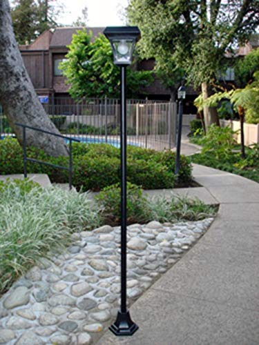 """Ntertainment House 1-Pack 77FT Solar Lamp Post Light with 4 White LEDs Street Vintage Path Deck Dual Purpose (User Selectable Height:30"""", 46"""", 61"""" or Maximum of 77"""")"""