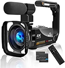4K Video Camera Camcorder with Microphone Ultra HD 56MP 18X Zoom WiFi Vlogging Camera IR Night Vision 3.0 Touch Screen YouTube Digital Camera Recorder with Handheld Stabilizer and 2.4G Remote Control