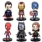 6 Pcs Superhero Action Figures Sets of Batman, Superman, Spiderman, Thor, Ironman, Captain America,PVC Figure Toy Dolls–Super Hero Cake Toppers-1