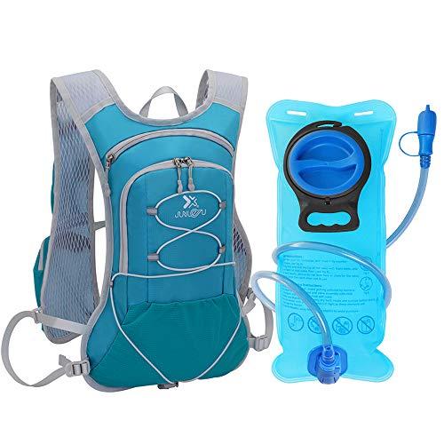 TEUEN Mochila de Hidratación con 2 litros Bolsa de Agua, Mochila Agua Mujer Hombre 6 litros Mochilas Trail Running Ligera para Correr Senderismo o Ciclismo Unisex Adulto (Lago Azul)