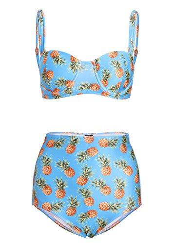 Pretty Attitude Türkis Blauer Ananas Retro Pin Up Vintage Damen Bikini mit hoher Taille (2-TLG. Set) – Gr. XL