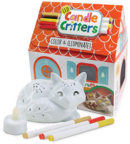 Bright Stripes LED Candle Critters Fox - Color & Illuminate DIY Ready to Decorate Craft Kit with 3 Ceramic Markers and Ceramic Fox in Cottage Shaped Box - Perfect Kids Coloring or Art Activity