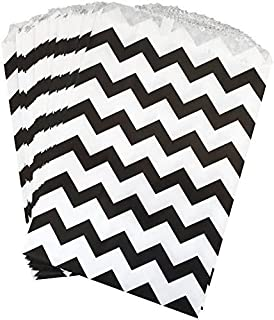 Outside the Box Papers Black and White Chevron Treat Sacks 48 Pack 5.5 x 7.5 Black, White