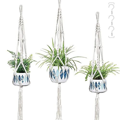 T4U 3 Pcak Macrame Plant Hangers, Hanging Planter Holder with 3 Hooks for Indoor Outdoor Hanging Planter Basket Pot, 110cm Boho Handmade Cotton Rope Hanger with Tassel for Wall Ceiling Home Decor